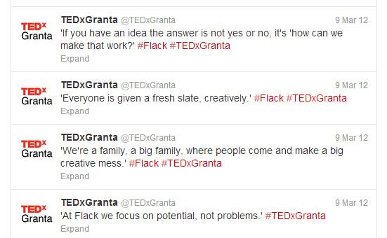 LIve tweeting for TEDxGranta