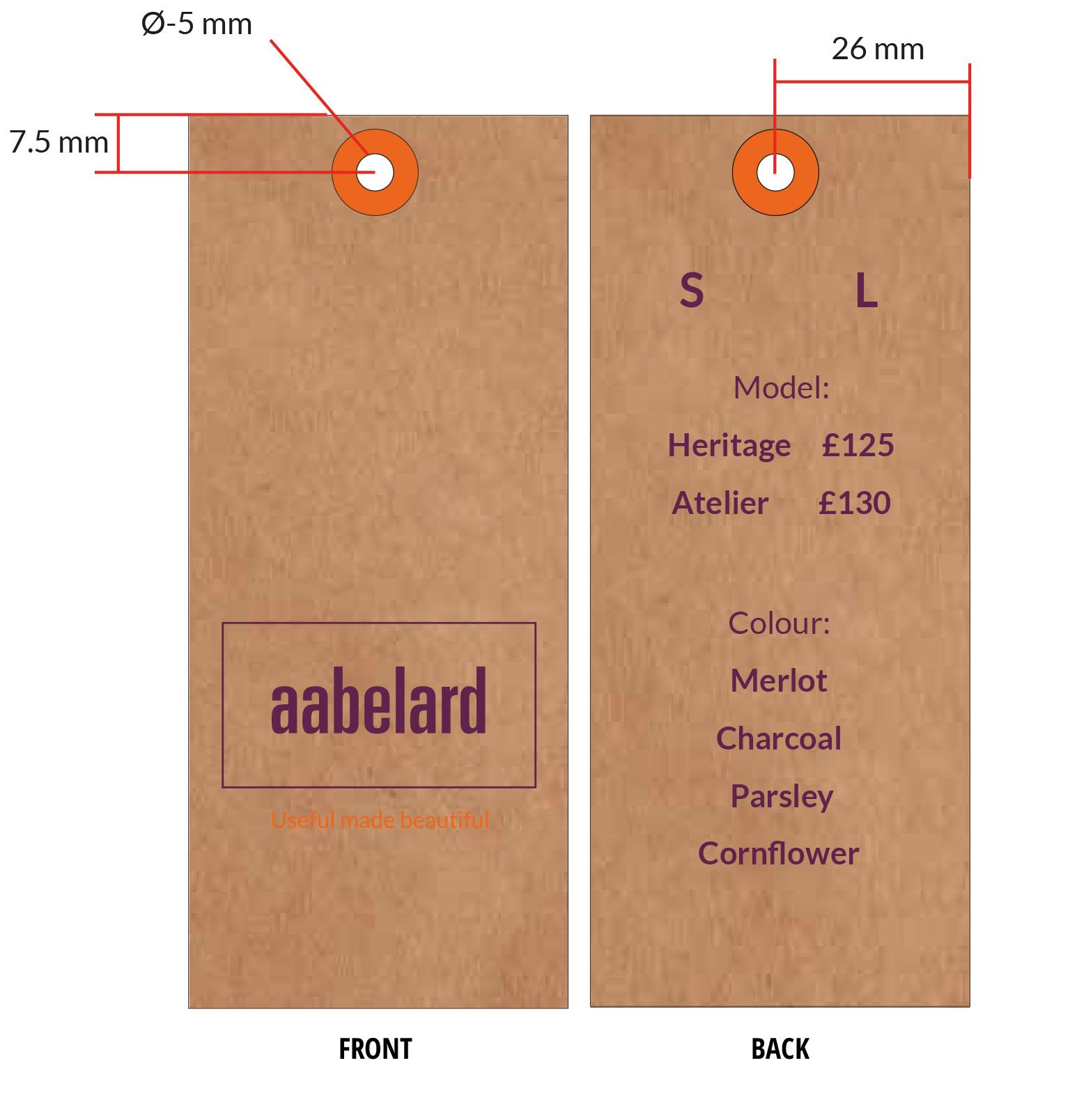 Swing tags for Aabelard