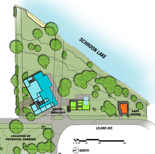 Part of a PDF showing the very preliminary plans for The Inn On Schroon Lake, what the ground floor might look like at the redeveloped Woods Property.