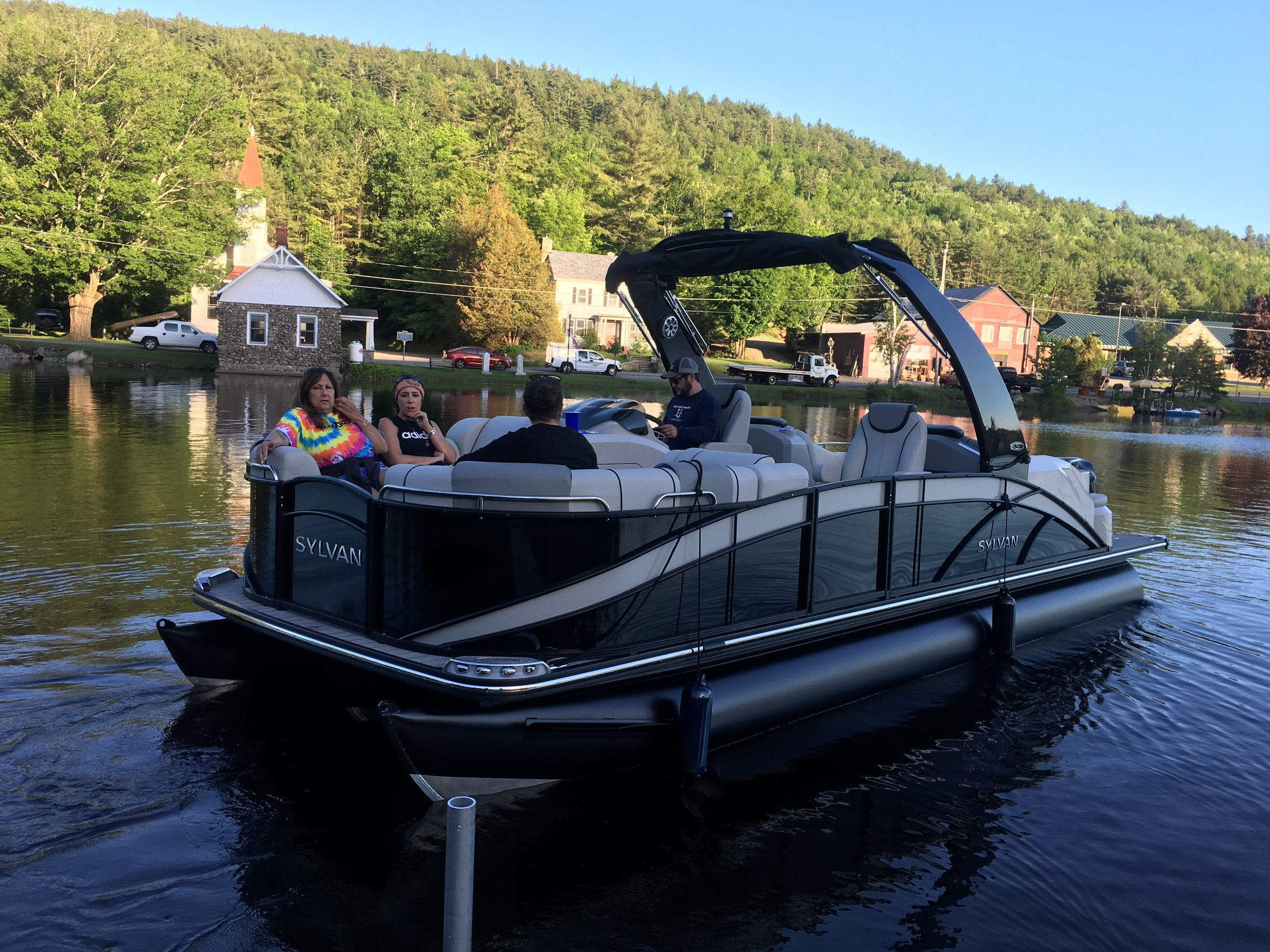 This is the pontoon boat that will be featured on Fox and Friends Sunday