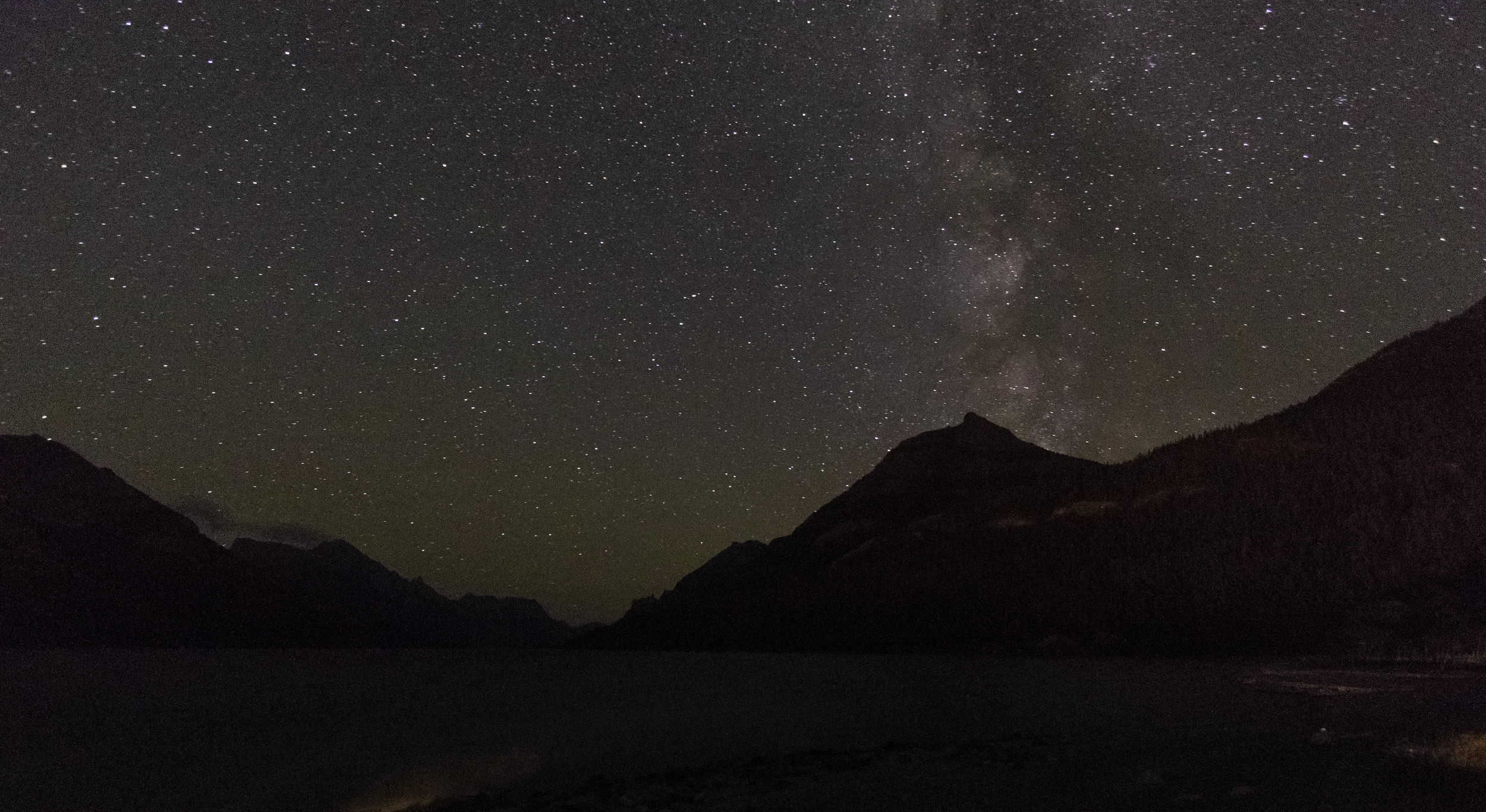 Night falls over Waterton Lake
