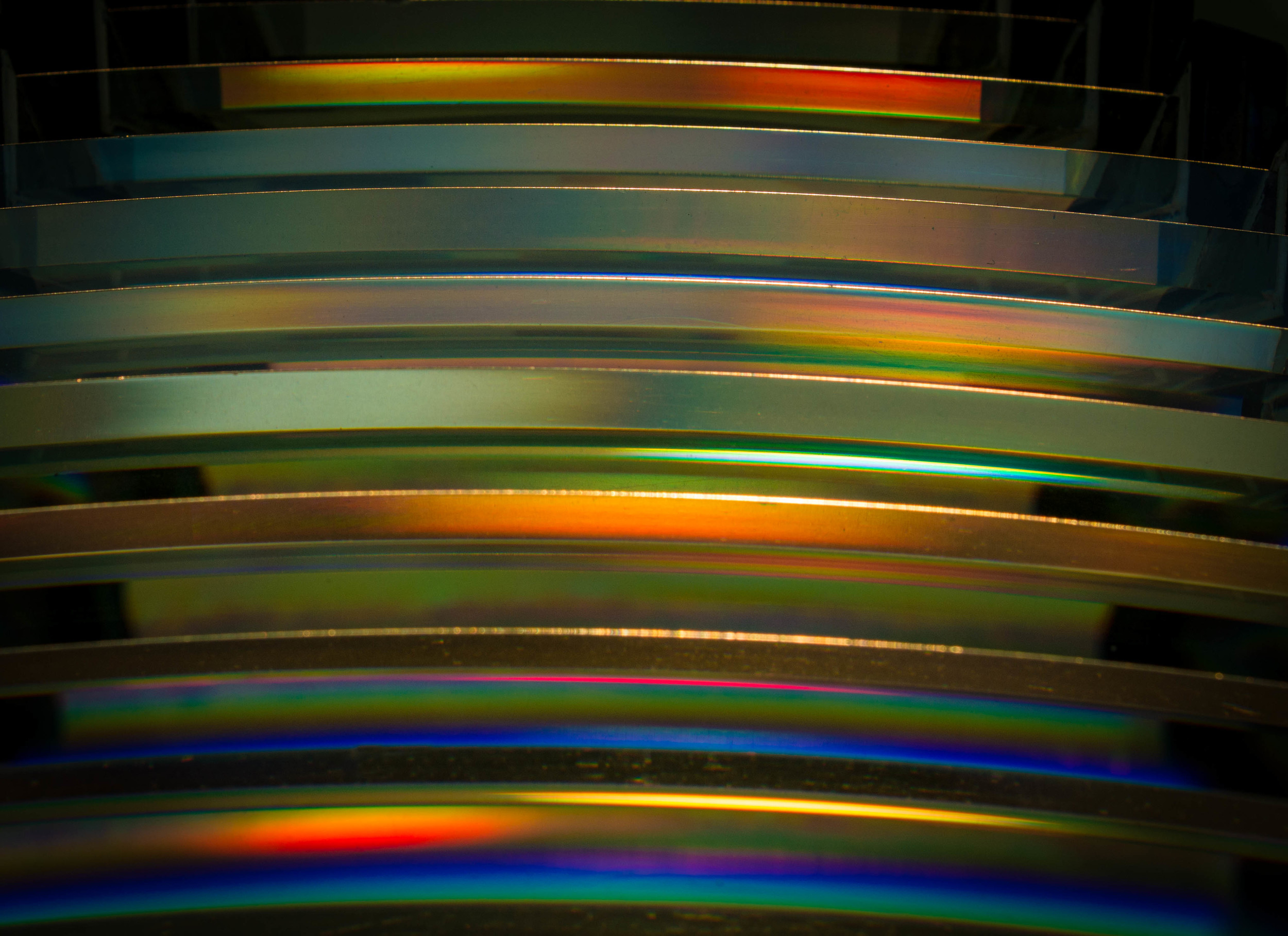 Detail of the edge of the Fresnel lens of the Cape Blanco, Oregon light.