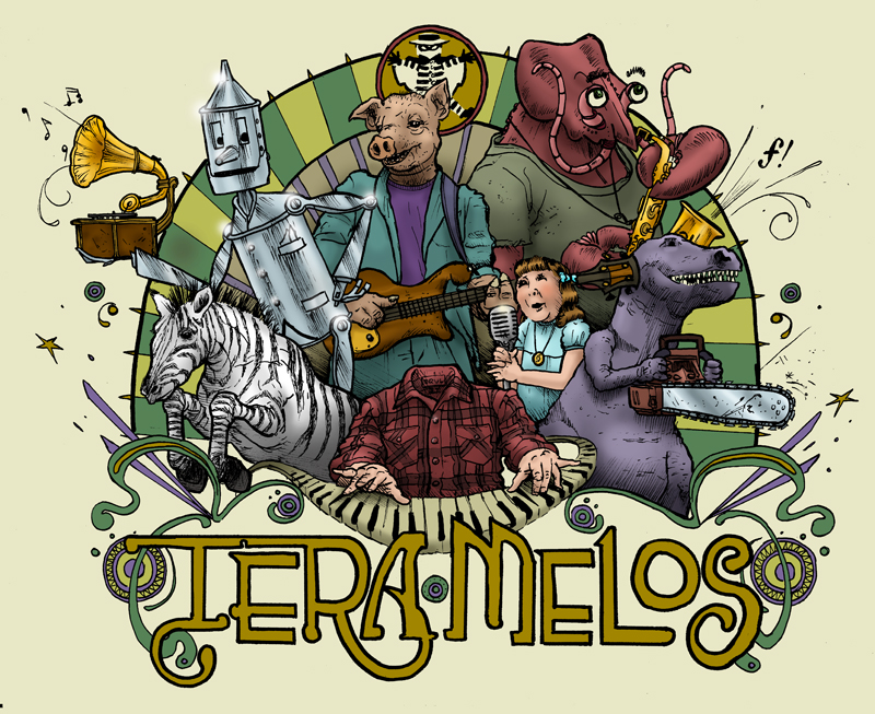 'Untitled' colored tee design for Tera Melos.