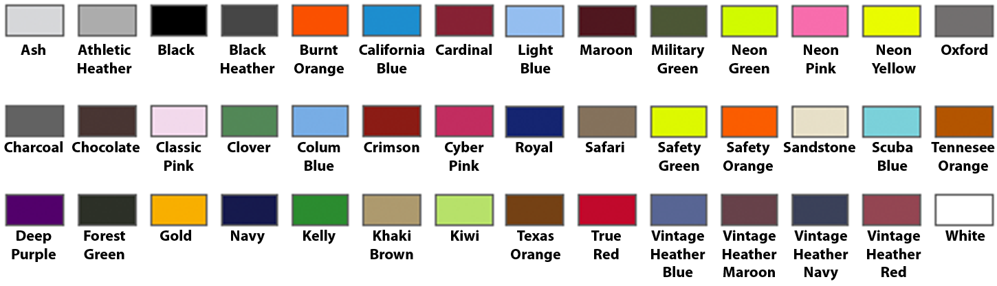 Color Chart for Pullover Hooded Sweatshirt (click TO MAKE LARGER)