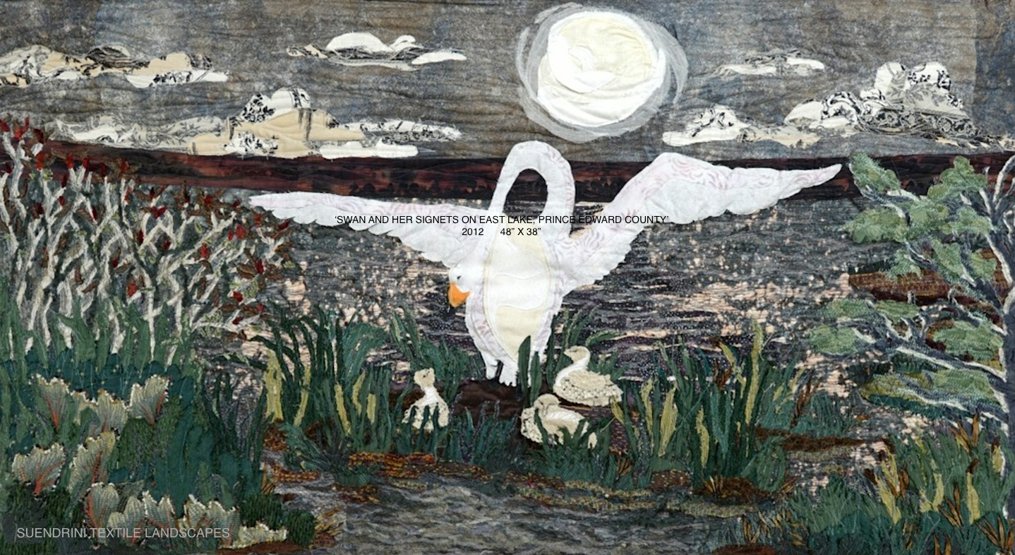 Landscape Textile art Swan & Signets on East Lake.JPG