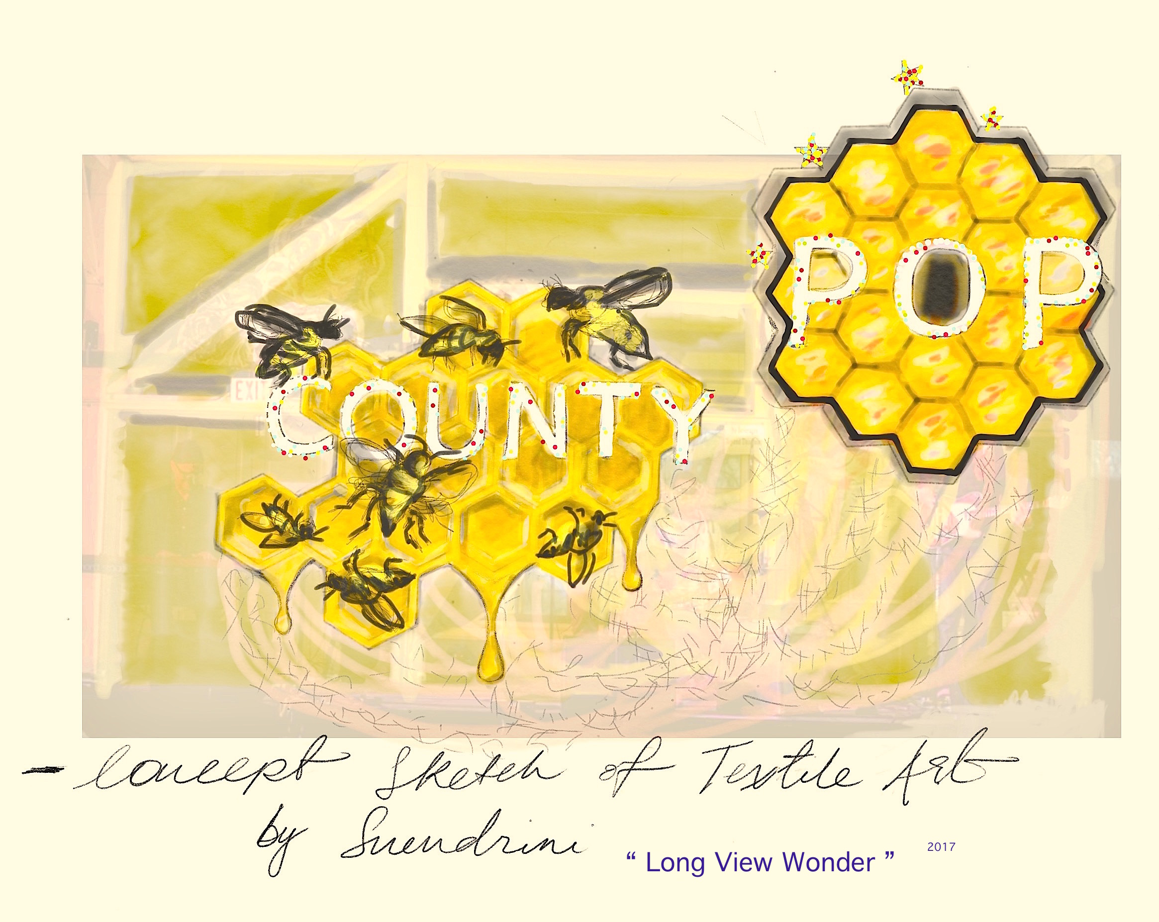 Long View Wonder - Visualizing the importance of Science & NatureImage: Sketch - configured concept to suit the County Pop music stageUp cycled textile stage art for County Pop 2017, at the historical Crystal Palace in Picton, Prince Edward County, Ontario06 May 2017Good Public Reference:EcojusticePollinator Canada