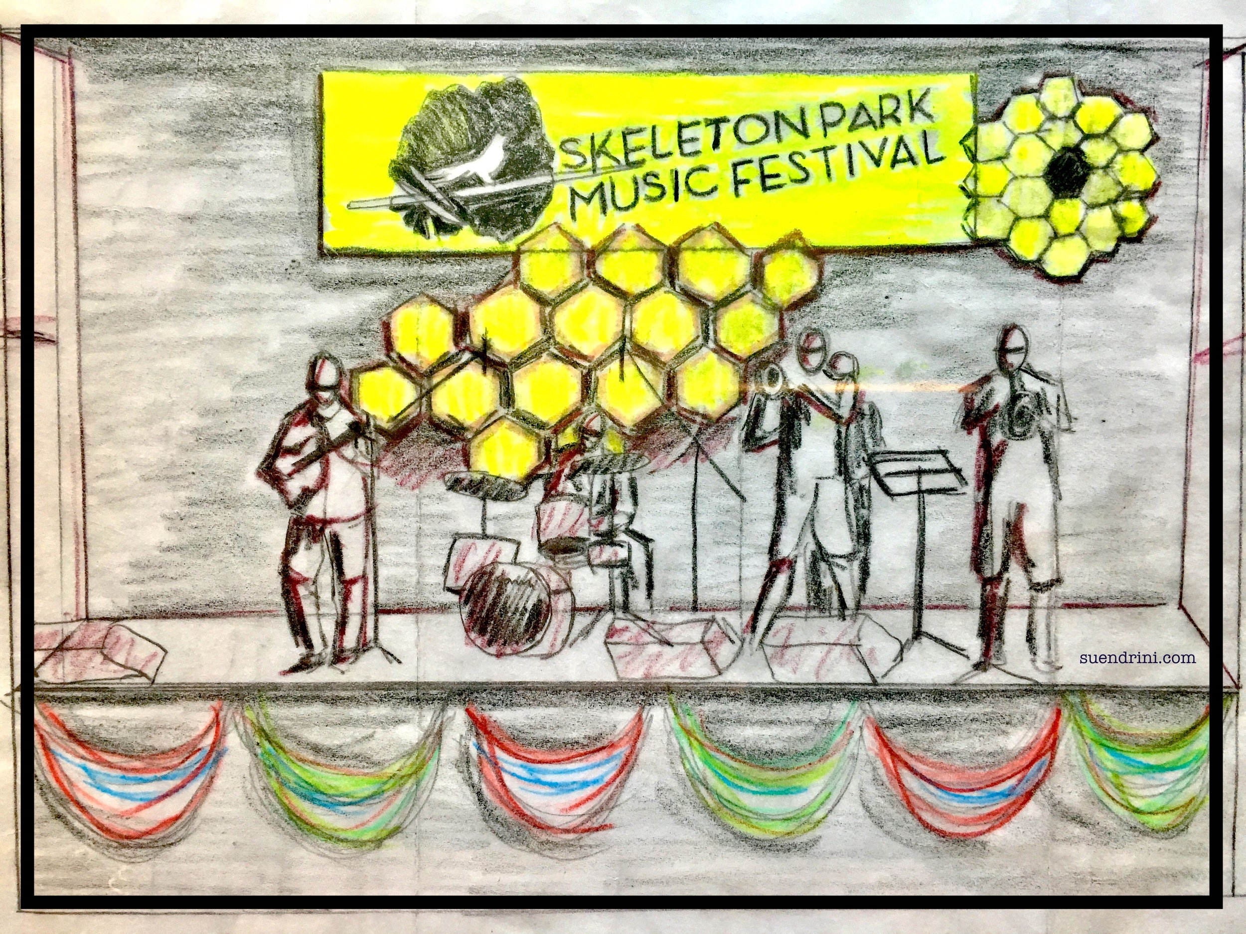 Long View Wonder - Visualizing the importance of Science & NatureImage: reconfigured concept sketch of stage art to suit the SPAF 2017 stage, Skeleton Park Arts Fest 2017, Kingston, OntarioUp cycled Medium: discontinued commercial textileDimensions: 20 feet x 8 feet23-25 June 2017Good Public Reference:EcojusticePollinator Canada