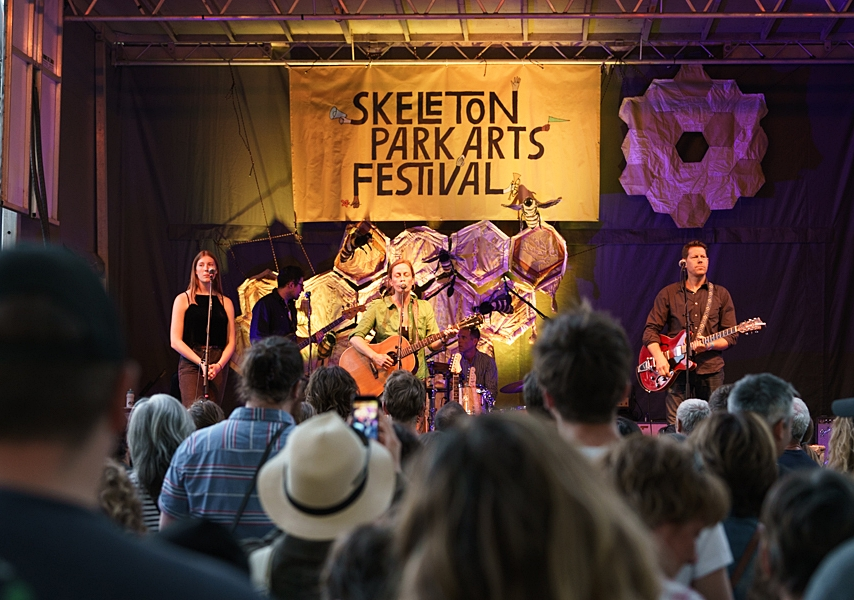 Above: Photo courtesy of Skeleton Park Arts Festival of headliner, SARAH HARMER and her band with up cycled textile art  Below Art On Stage,  Long View Wonder,  Skeleton Park Art Festival 2017 stage  23-25 June 2017
