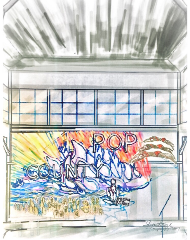 Make The World Greta Again - Engage with Project Drawdown for ClimateImage: concept sketch of stage art for County Pop music festival stage at the historical Crystal Palace in Picton, Prince Edward County, OntarioUp cycled Medium: discontinued commercial textile, remnant marine ropeDimensions: 28 feet x 15 feet04 May 2019Good Public Reference:Project DrawdownFridays For FutureEcojustice