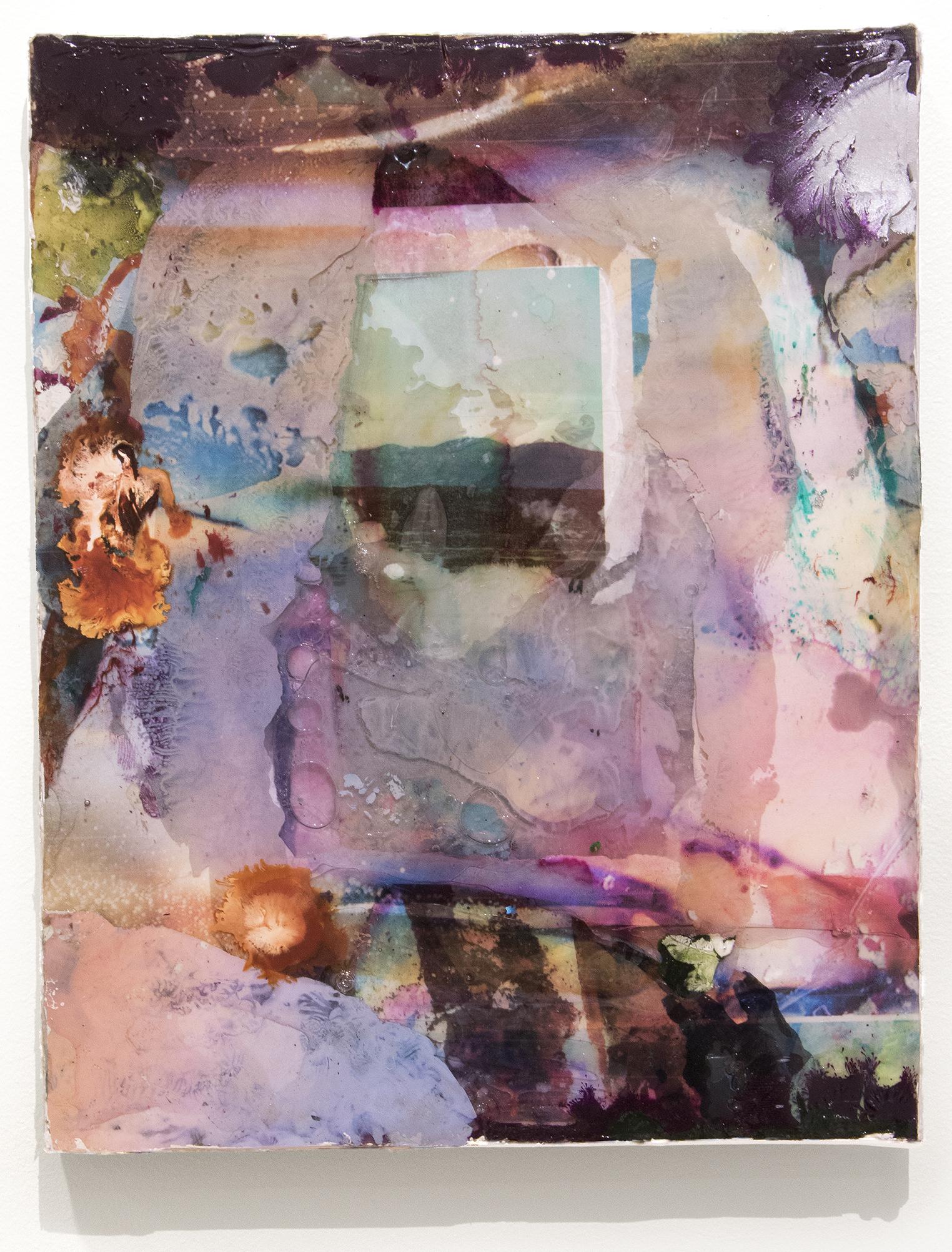 "Windfall. Ink, acrylic, digital photo fragment, inkjet transparencies, epoxy resin on canvas. 8x10"". 2017"
