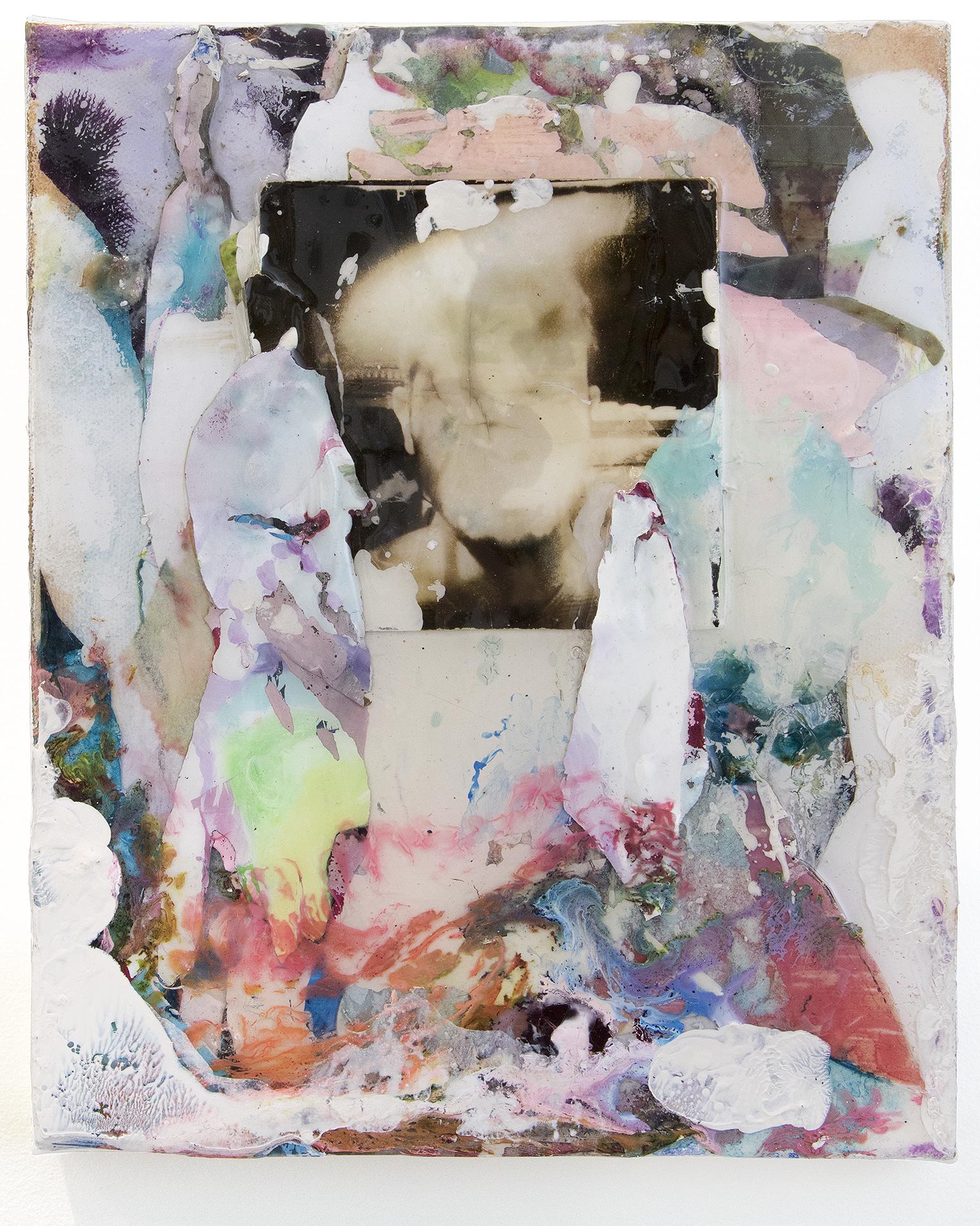 "Silex. Ink, acrylic, gelatin silver print, inkjet transparencies, epoxy resin on canvas. 8x10"". 2017"