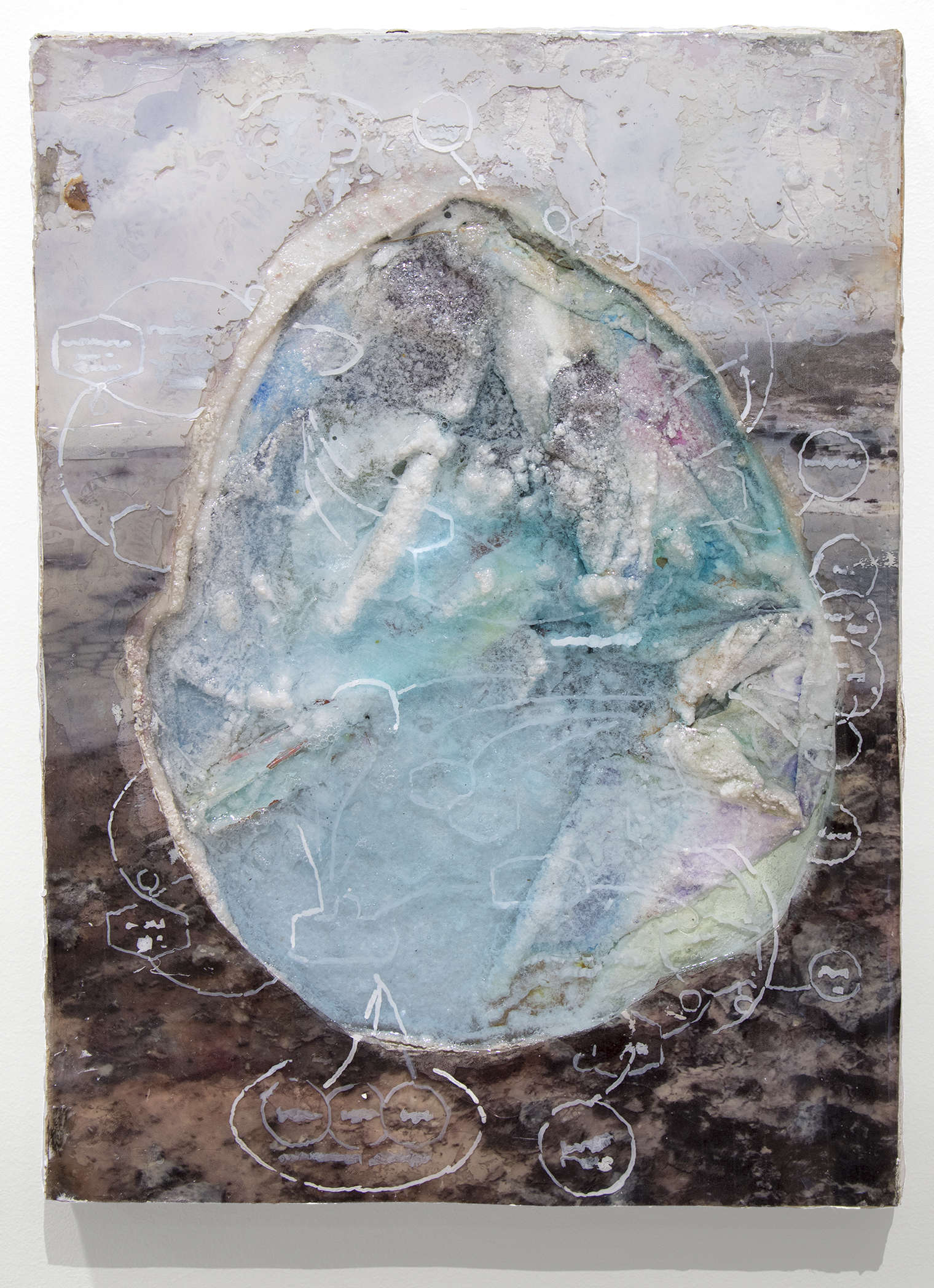 "Terme . Ink, acrylic, salt crystals, inkjet transparencies, epoxy resin on panel. 9x12"". 2017"