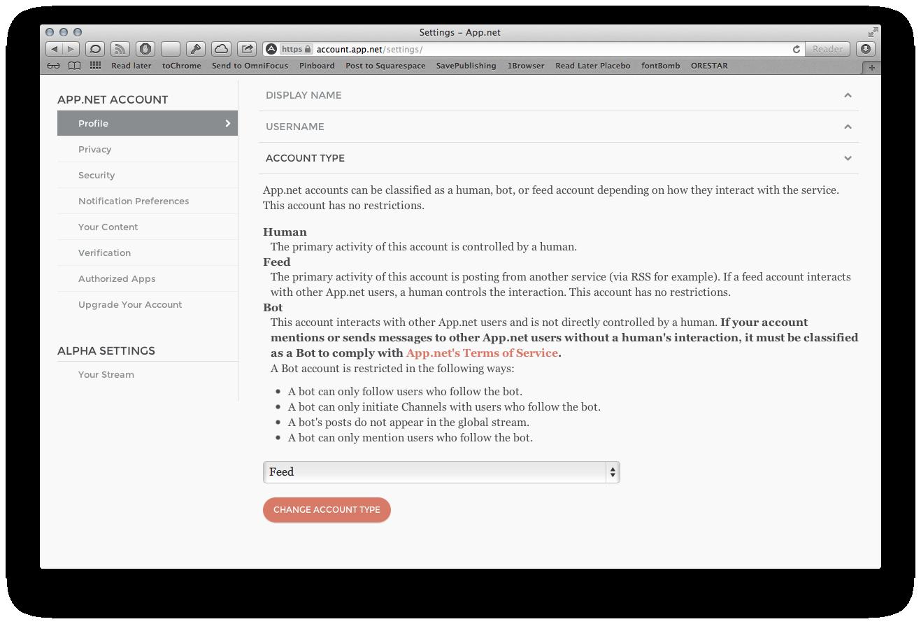 App.net settings screen.