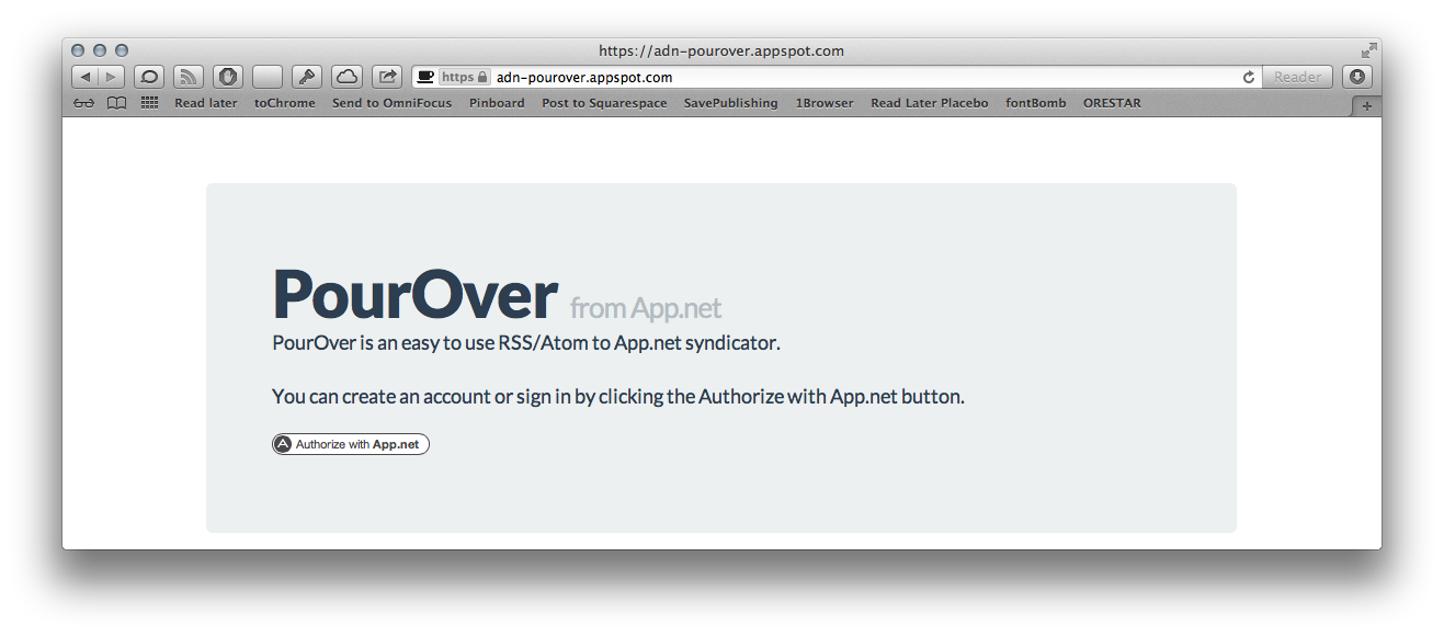 PourOver's login screen.