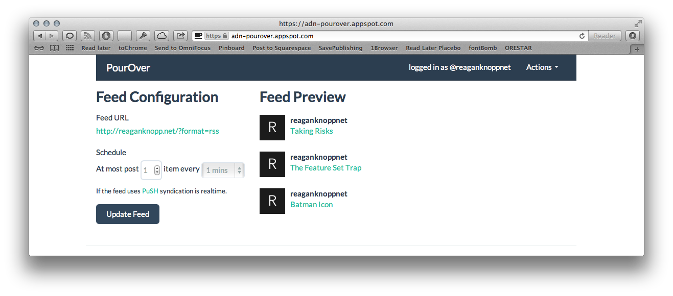 PourOver's simple feed configuration screen.