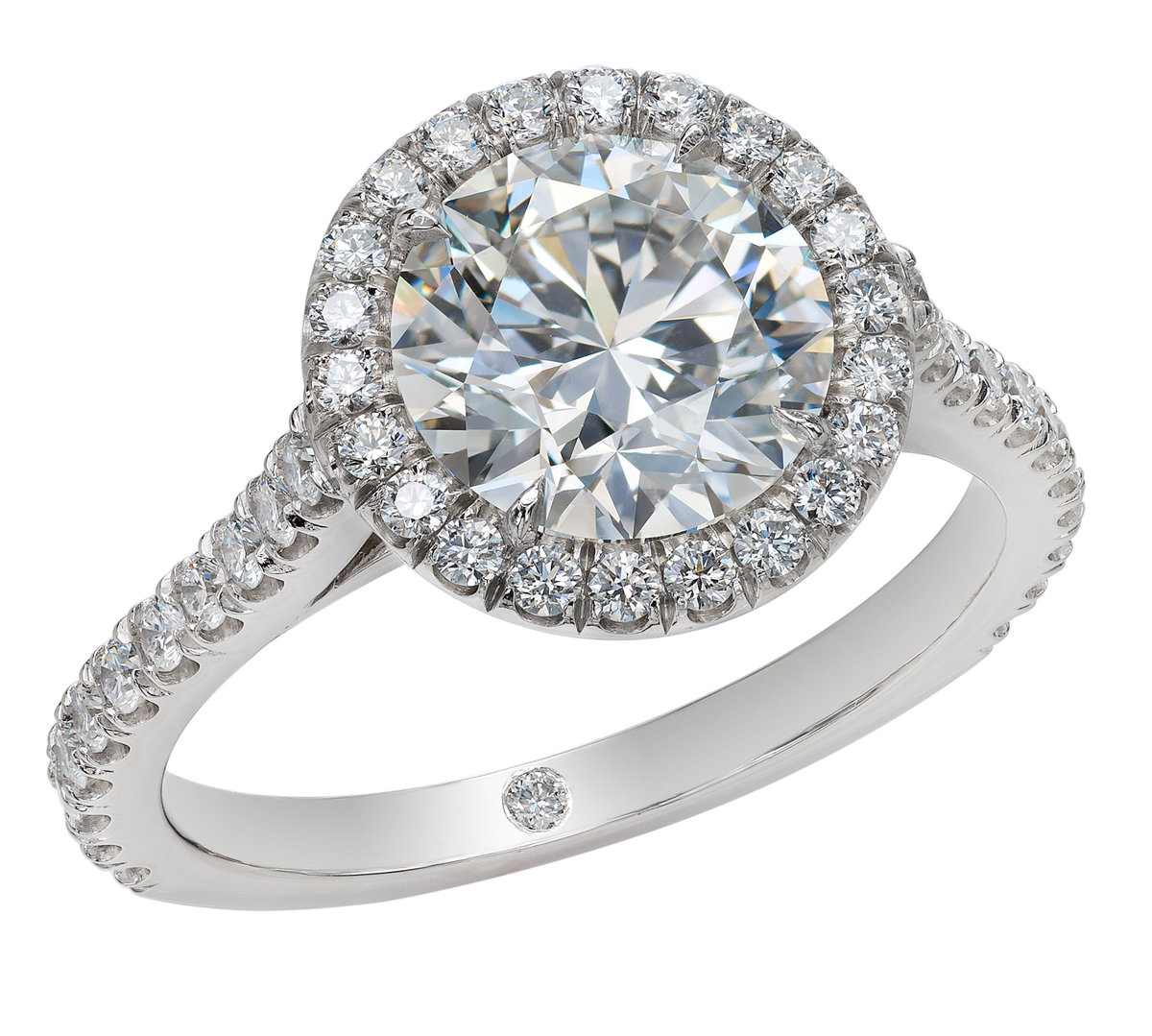 Micropave Halo Engagement Ring