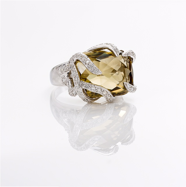 Custom made 18K WG ring with 9 carat Cushion Cut Lemon Quartz and diamonds.   Price : $ 995.00