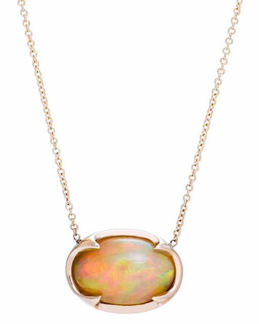 Custom made 14K YG pendant with Golden Australian Opal.   Price: $ 950.00
