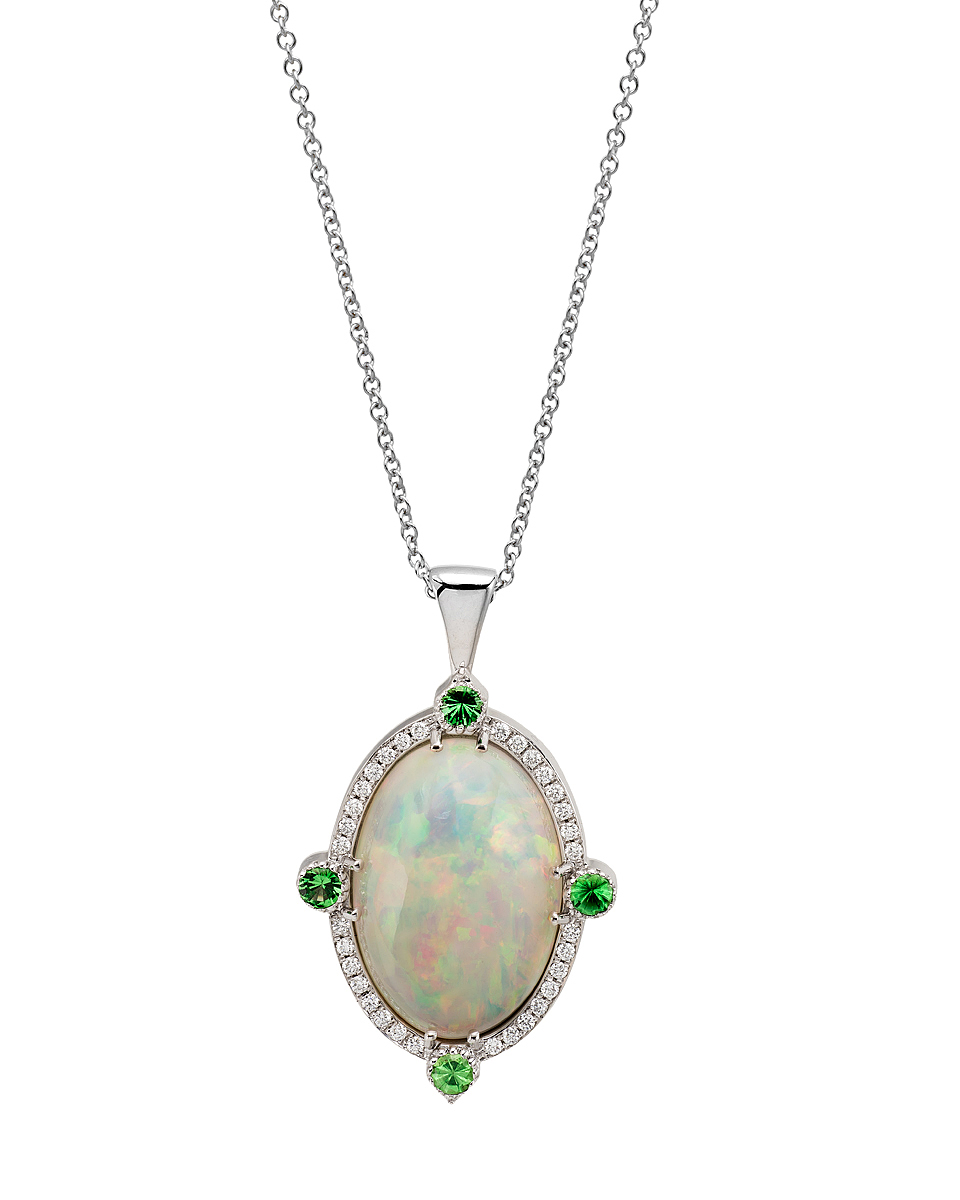 Custom made 14K WG pendant with Australian White Opal, peridots and diamonds.   Price: $ 1,450.00