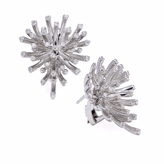 One of a kind, custom made 18K WG diamond earrings.   Price: $ 890.00