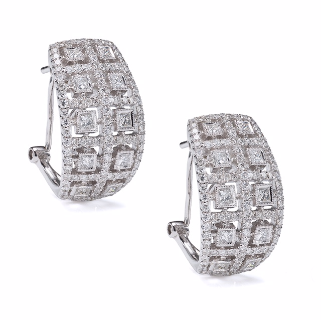 One of kind 18K WG diamond earrings.  Price: $ 2,550.00
