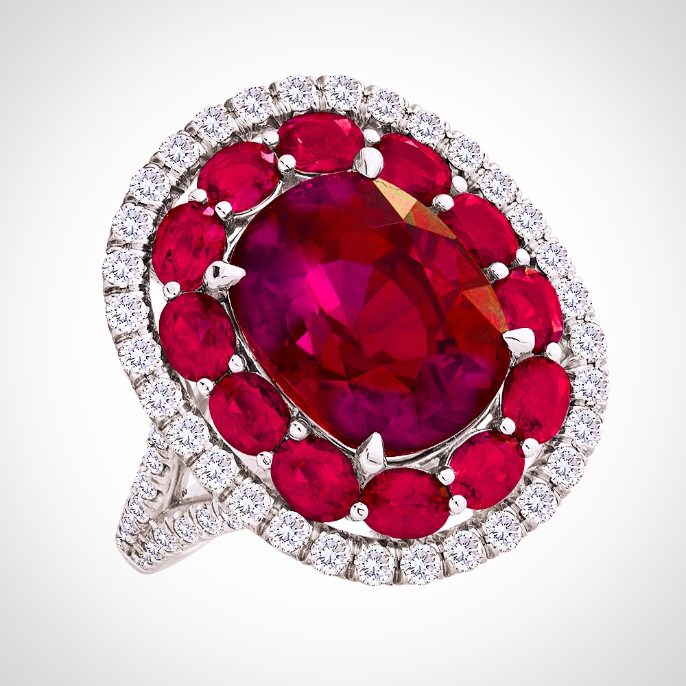 Rubelite 8.00 CT's Rubies 2.45 CT's 68 Diamonds 2.45 CT's 18K White Gold Please inquire about price.