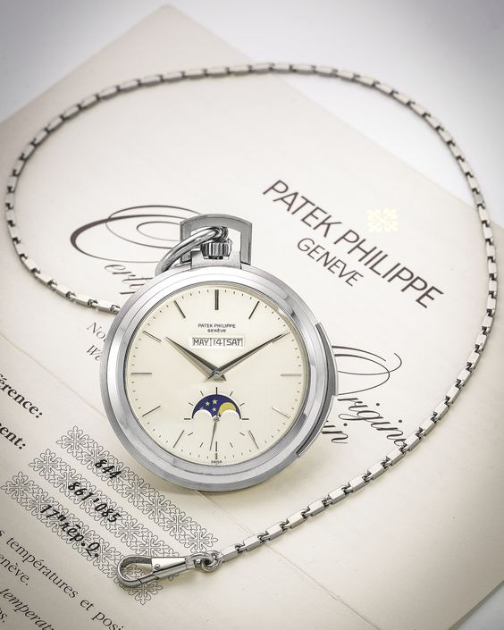 Pictured above:  Patek Philippe White Gold Pocket Watch. Made in 1973