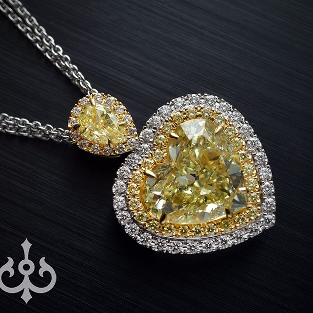 My most favorite part of this business is made to order pieces...most of the pieces are done by hand...some using latest CAD and 3D modelmaking technology...here you can see stages of how custom made pendant featuring 7 carat Fancy Yellow Heart Shape Diamond was assembled • • • #madetoorder #custommade #madeinnyc #fromscratch #instajewelry #maker #unique #style #chic #luxury #fancy #yellow #yellowdiamonds