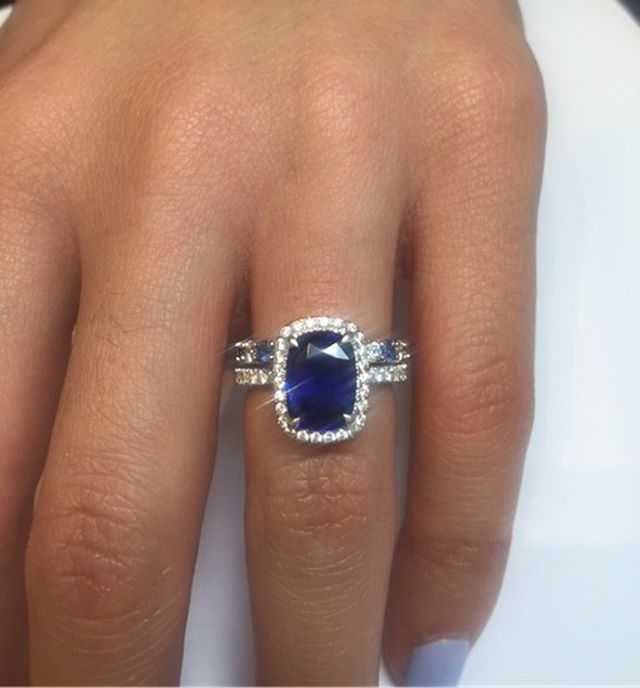 Handmade Platinum Engagement ring with Cushion Cut Blue Sapphire from Sri Lanka in diamond micropave for Mia, complimented by diamond and sapphire wedding band...💙 • • • #Sapphire #engagement #ring #engaged #wedding #weddingband #blue #newyork #madeinny #custome #bespoke #madetoorder #сапфир