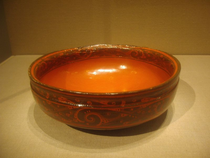 Chinese Western Han Dynasty (202 BC–9 AD), dated 2nd century BC.  Source: http://commons.wikimedia.org/wiki/File:Lacquerware_bowl,_Western_Han_Dynasty.JPG