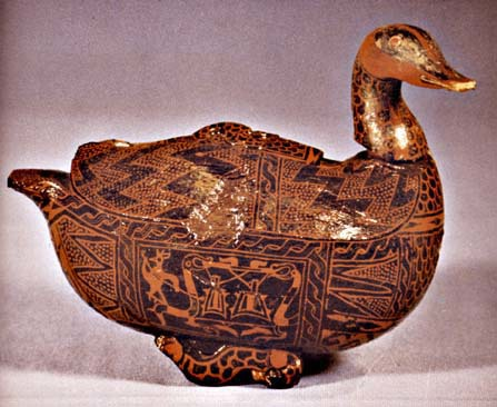 Lacquer box in the shape of a mandarin duck excavated from the tomb of Marquis of Yi.    SOURCE:   Zhongguo meishu quanji, Diaosu bian,  1   (Beijing: Renmin meishu chubanshe, 1988), p. 152. and http://depts.washington.edu/chinaciv/archae/tmarlacq.htm