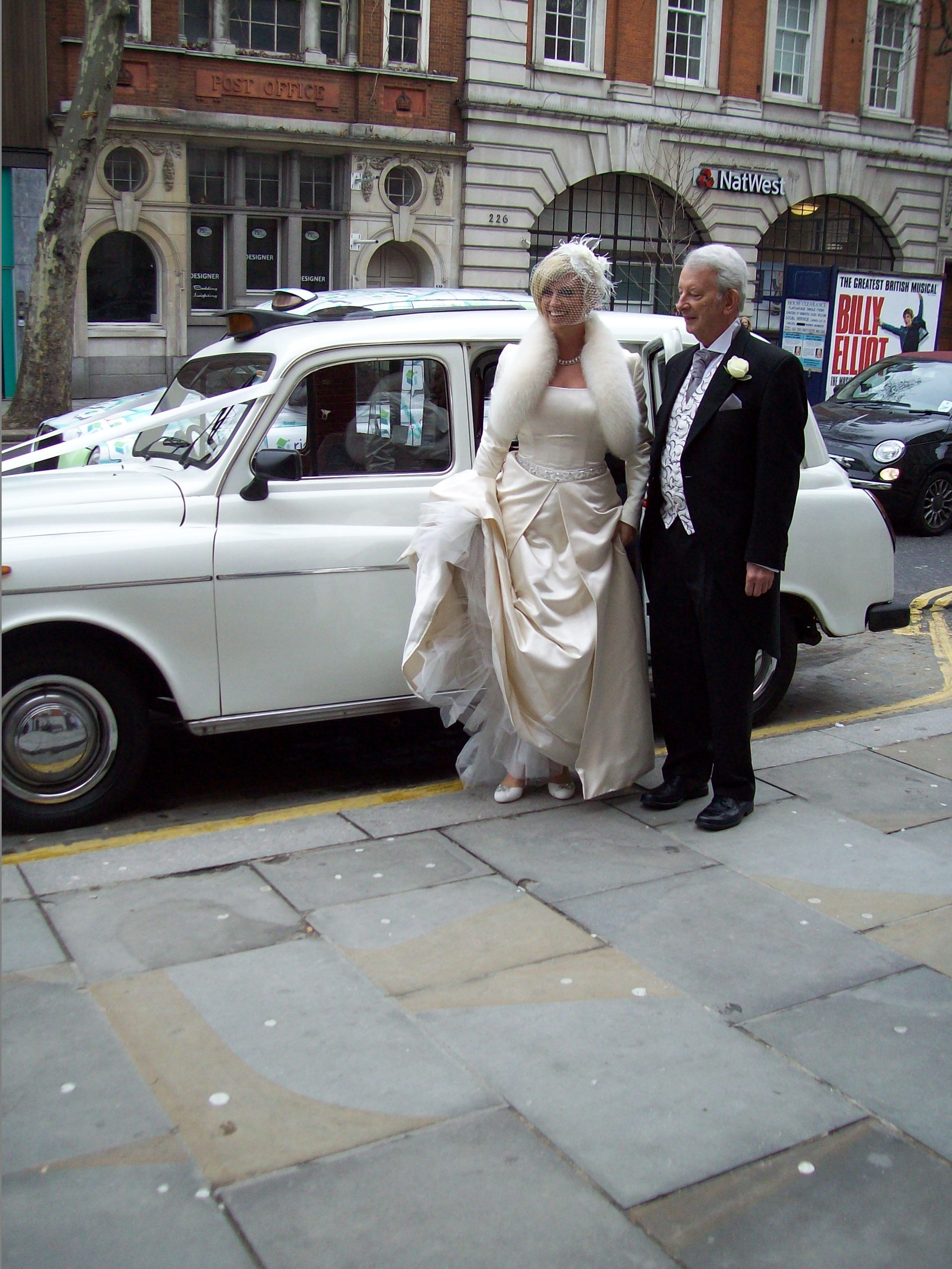 White London Taxi Wedding