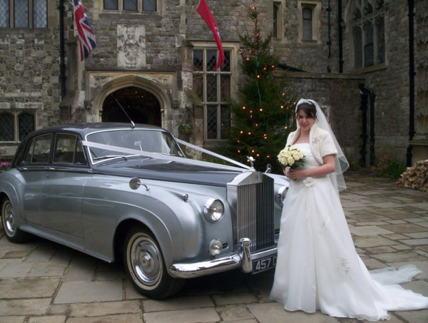 Rolls Royce Silver Cloud Mk1 winter wedding at Eastwell Manor.