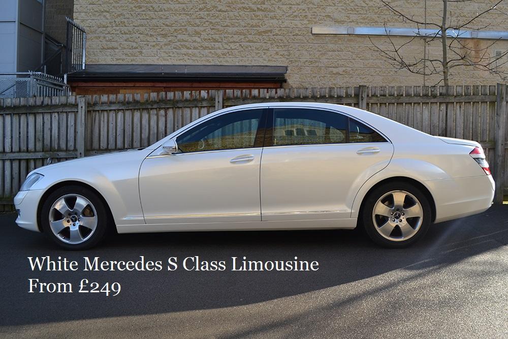 White Mercedes S Class Limousine