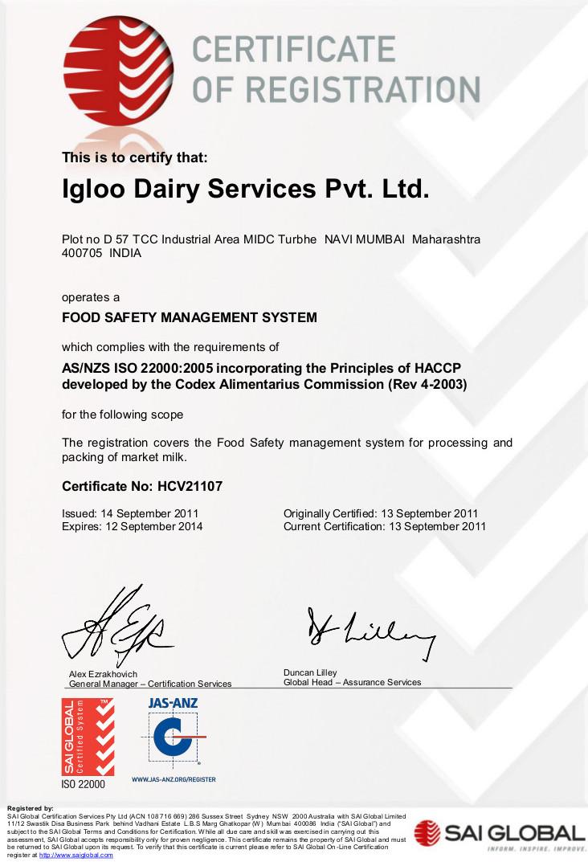 Igloo Dairy : Turbhe ISO 22000:2005