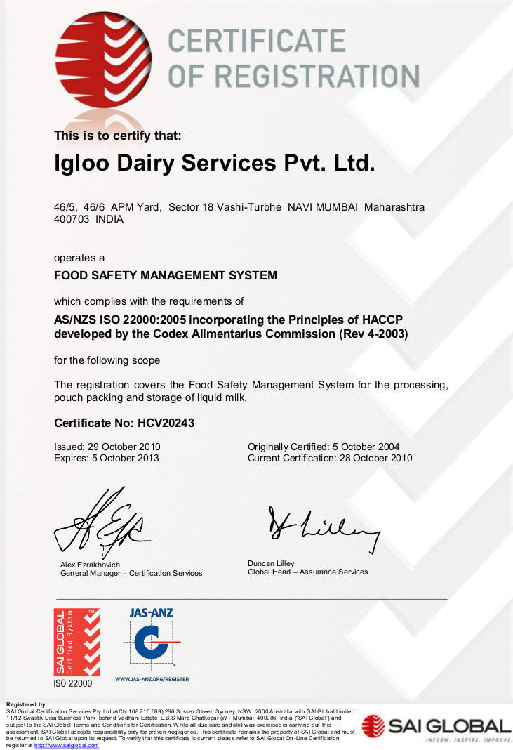 Igloo Dairy : Vashi ISO 22000:2005