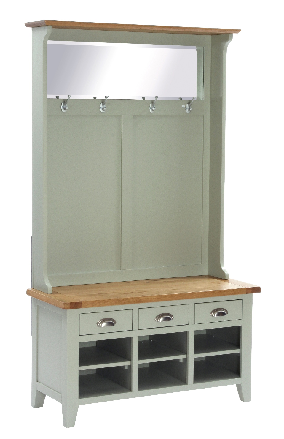 Hall Unit with Bench, Shoe Storage, Coat Rack and Mirror  w 110 x d 45 x h 190 cm  €986  Product Code: ANB115