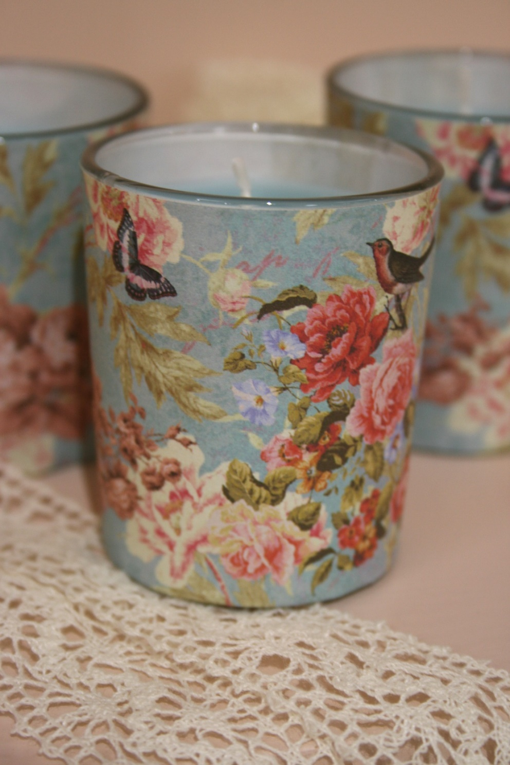 Floral Print Candle Jar with Blue Candle €2.90