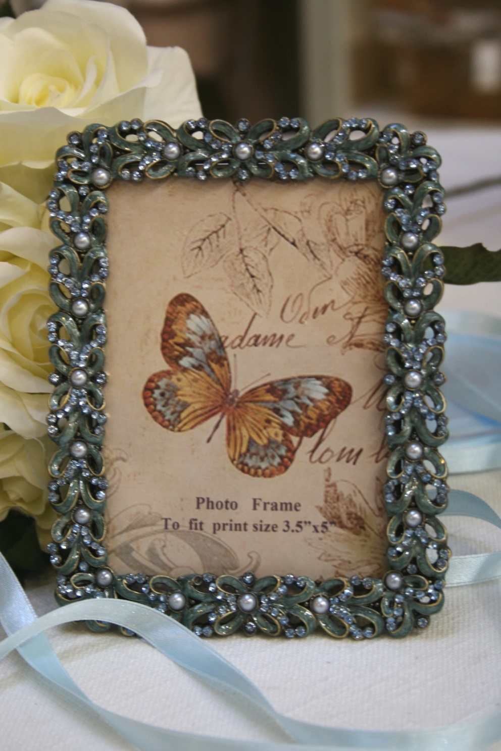Bejewelled Photo Frame in Blue and Pearl  €19.95