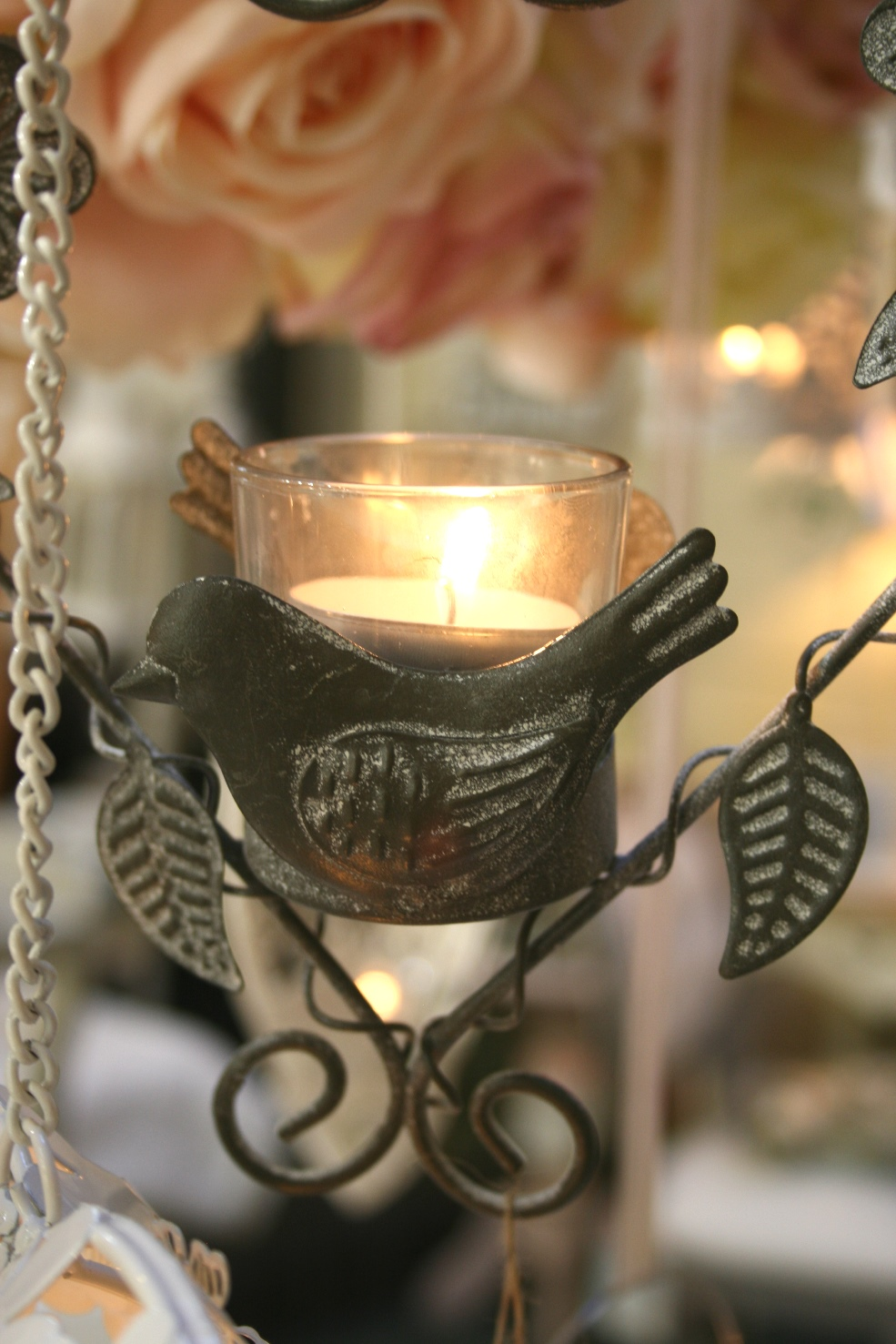 Hanging Tea Light Holder with Bird and Heart € 9