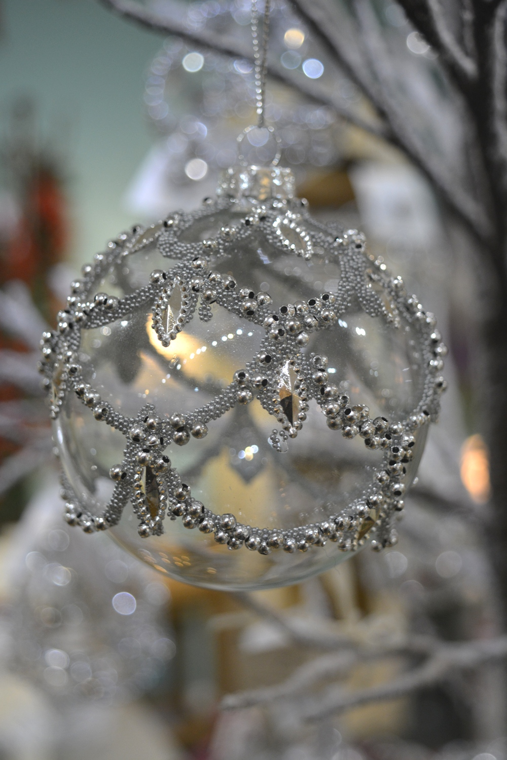 Silver and Glass Bauble  €5.50