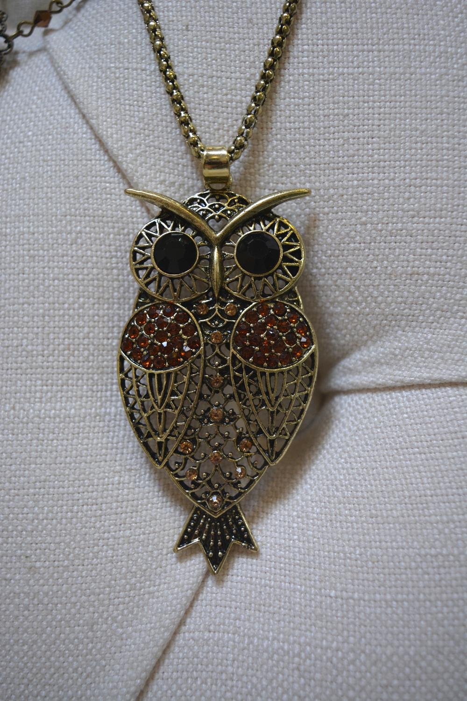 Embellished Owl Pendant Necklace ~ €14.00