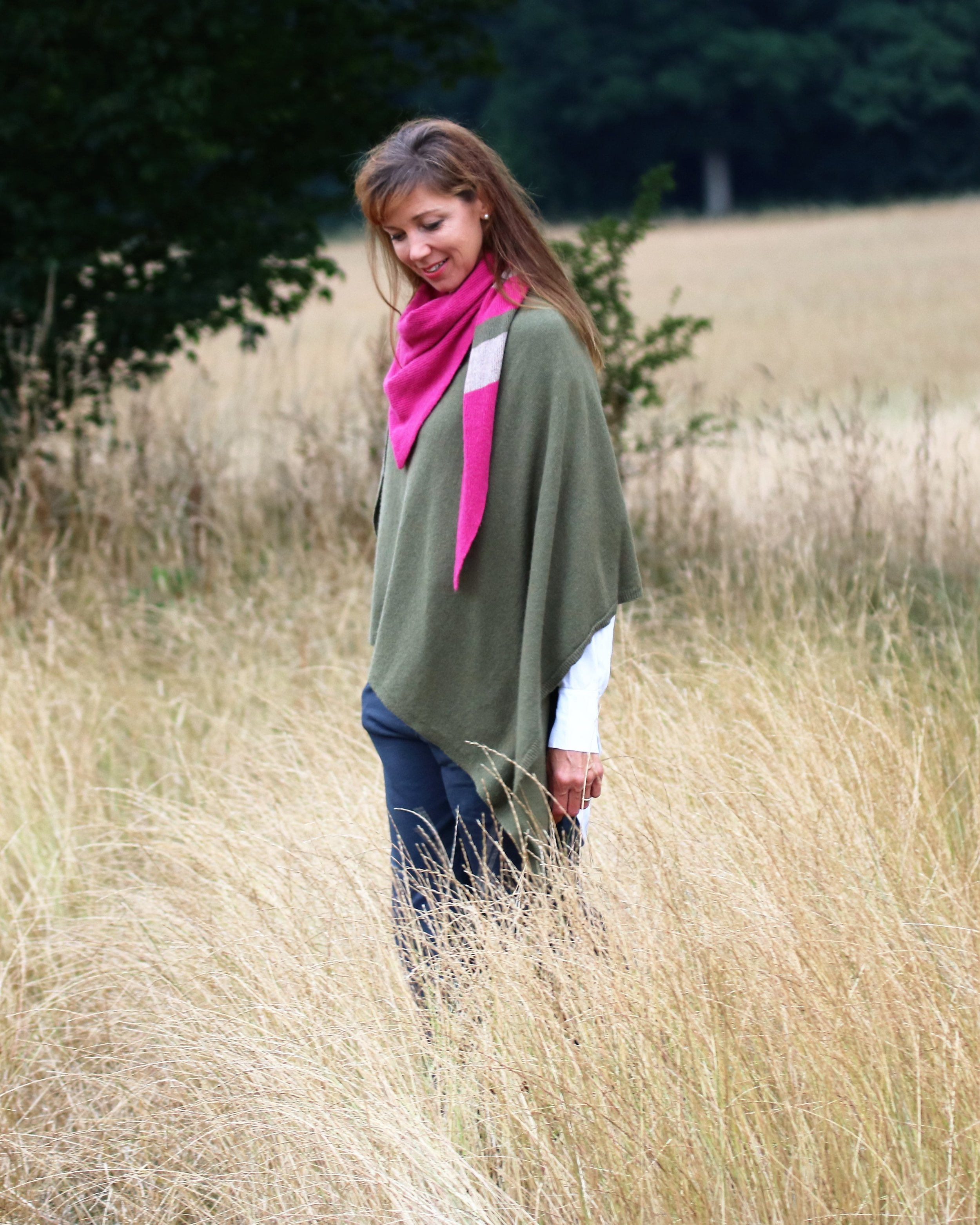 Lifestyle Martini Olive Poncho with Triangle Scarf.jpg