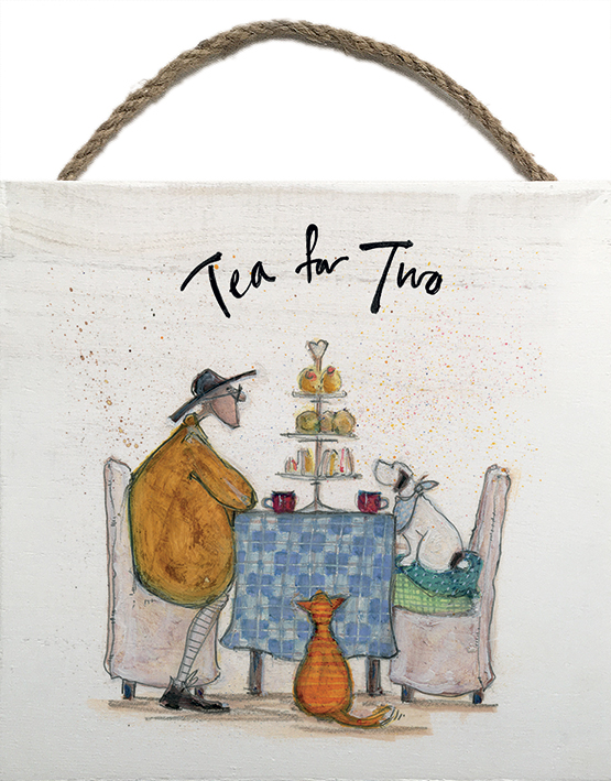 TEA FOR TWO, WOODEN BLOCK PRINT BY SAM TOFT 20CM X 20CM , €15.