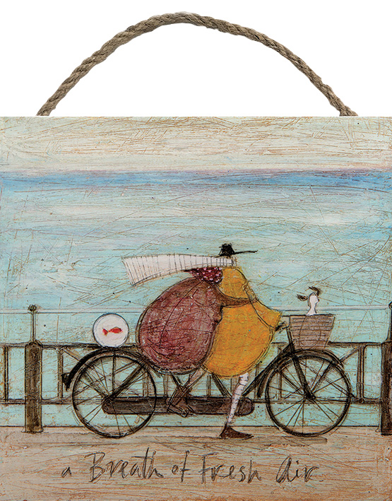 A BREATH OF FRESH AIR WOODEN BLOCK PRINT BY SAM TOFT 20CM X 20CM , €15.