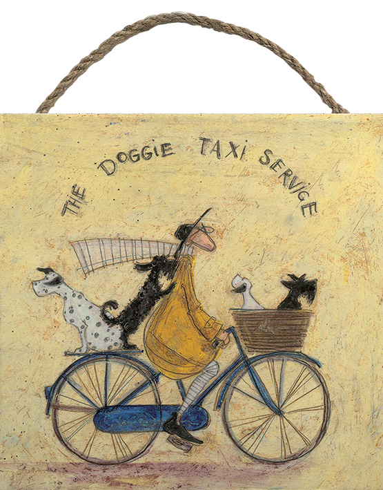 THE DOGGIE TAXI WOODEN BLOCK PRINT BY SAM TOFT 20CM X 20CM , €15.