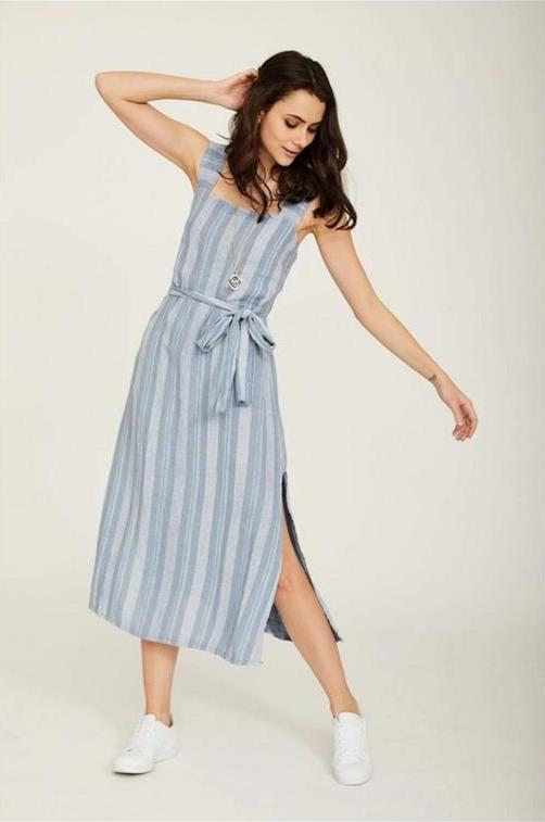 STRIPED LINEN DRESS, CODE: PO19025, €64