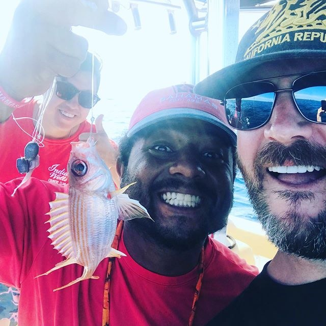 Went deep sea fishing! Didn't get sick! Caught a monster Big-eyed Jack Fish, not to be confused with the burned-skin Jake Fish (also pictured). #bahamasbaby