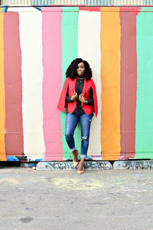 :: OUTFIT DETAILS::           Cape Blazer :  TOBI.com  |  Sheer Blouse : Zara |  Boyfriend Jeans : Old Navy                             Nude Pumps : Michael Kors