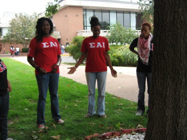 with my sorority sisters singing around our tree <3 @}--